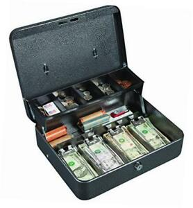 Cb1210 Key Locking Cash Box With 5 Compartment Tray 11 75 X 10 X 4