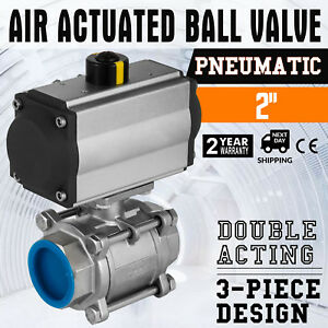 Npt 2 Inch Pneumatic Air Actuated Ball Valve Industrial 1000psi Unique