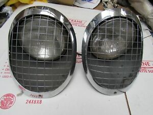 1953 1954 1955 Corvette Used Complete Head Lamp Assembly Pair Lamps Light Lens