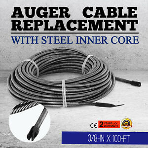 100 Ft Replacement Drain Cleaner Auger Cable Plumbing Dia 3 8 In Sewer