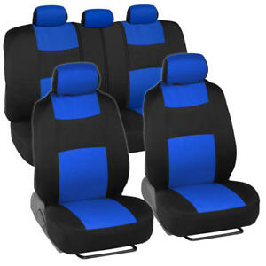 Comfortable Fabric Car Seat Covers W Split Bench Sporty 2 Tone Blue Black