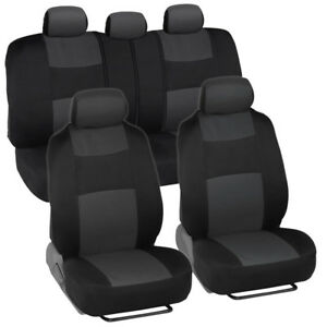 Universal Car Seat Covers W Split Bench Zippers For Suv Van Truck Charcoal
