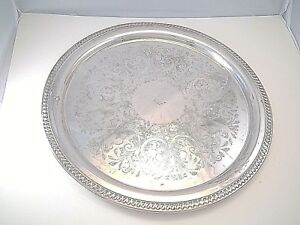 19 Enormous Tray For Punch Bowl Soup Tureen Hors D Oeuvre Gadroon Silverplate