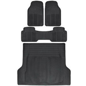 Motor Trend Odorless All Weather Rubber Car Floor Mats Trunk Liner Black