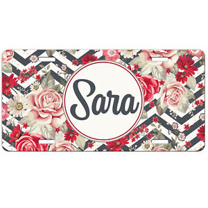 License Plate Personalized Floral Chevrons Car Tag Monogrammed Vanity Plate 9361