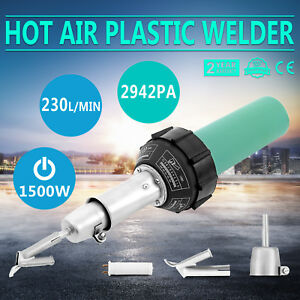 1600w Hot Air Torch Plastic Welding Gun Welder Pistol Roller Brush Flat Nozzle
