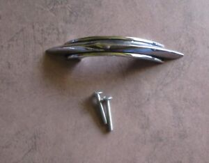 Vintage Drawer Pull Chrome Plated With 2 Black Lines Amerock Deco Style
