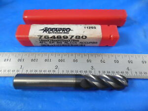 2 Pcs Accupro 10mm Dia 25mm Loc 4 Fl Solid Carbide Ball End Mills 1 New 1 Used