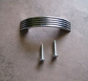 Vintage Drawer Pull Chrome Plate With Ribbed Design With 4 Black Lines