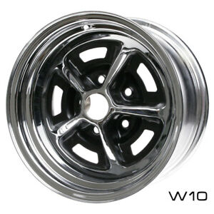 Wheel Vintiques 54 4612334 Mustang Magnum 500 Wheel 14 X6 Chrome Black Inserts