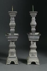Fine Pair China Chinese Pewter Candlesticks Qing Dynasty Signed Ca 19th C