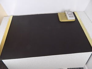 Nos 38 X 24 Mirror Brass Railed Linoleum Desk Pad With At a glance Calendar