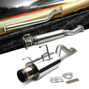 4 Round Burnt Muffler Tip Exhaust Catback System For 02 06 Acura Rsx Base 2 0l