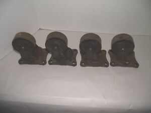 4 Vintage Industrial Heavy Duty Cast Iron Casters cart Wheels