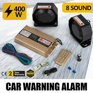 At 400w 12v 8 Sound Loud Car Warning Alarm Police Fire Siren Pa Mic System Sell