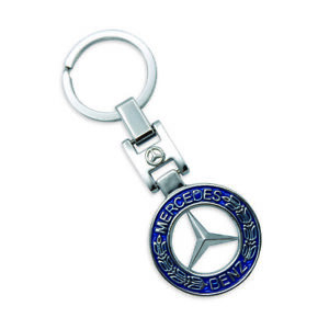 New Key Chain Metal Chrome Blue For Mercedes Benz All 2000 2018