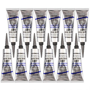 12pcs Gray High Temperature Gasket Maker Neutral Rtv Silicone For Home Auto