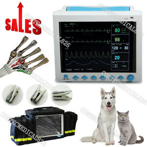 Veterinary Icu Patient Monitor Vital Sings Machine Ecg Nibp Spo2 Resp Temp bag