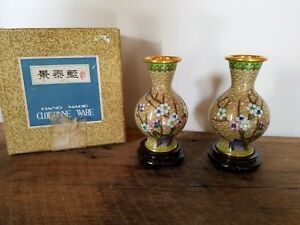 Reduced Pair Cloisonne Vases On Stands In Original Box China
