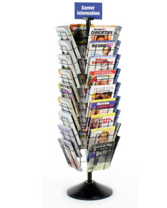 Black 36 Pocket Rotating Magazine Literature Display Stand