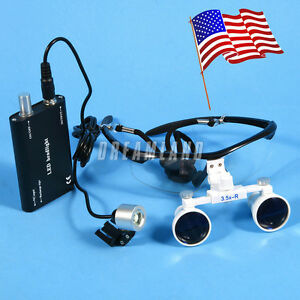Dental Surgical 3 5x Binocular Magnifier Glasses Loupes Led Head Light Black U
