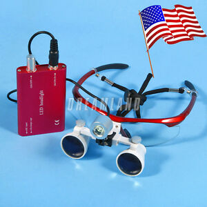Dental Surgical 3 5x Binocular Magnifier Glasses Loupes Led Head Light Red usa