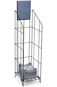 Heavy duty Black Wire Literature Stand With Header Fits 8 5 X 11 Magazines