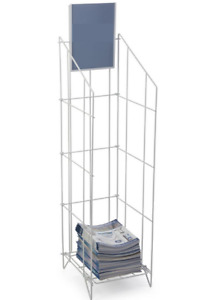 White Folding Wire Literature Stand With Header Fits 8 5 X 11 Magazines