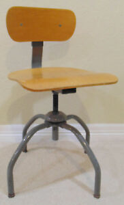 Vintage Industrial Shop Steel Wood School Chair Adjustable Height
