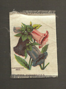 Vintage Antique Silk Applique Use In Crazy Quilt Block Flower Canterbury Bell