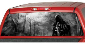 Grim Reaper Forrest B w Rear Window Perforated Graphic Decal Tint Sticker Truck