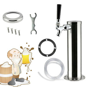 Single Tap Draft Beer Tower One Faucet Stainless Steel For Homebrew Kegerator