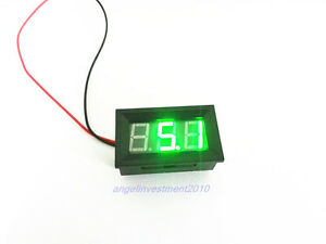 10pcs Mini Green Led Digital Volt Meter 4 5 30v No Add Power Required