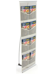 8 pocket Portable Trade Show Mesh Literature Floor Display Stand With Case