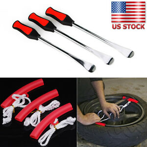 3x Motorcycle Spoon Tire Levers Irons Changing Tool Kit Changer W Rim Protector