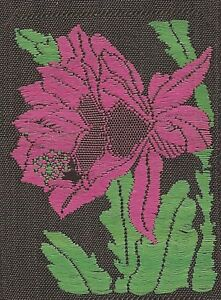 Vintage Tobacco Cigarette Embroidered Silk Use In Crazy Quilt Pink Flower