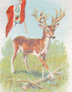 Vintage Tobacco Cigarette Silk Flag White Tailed Deer Use In Crazy Quilt