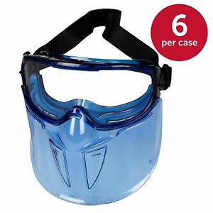 6 Pack Jackson V90 Safety Goggles W Face Shield 18629 Clear Anti Fog Lens Blue
