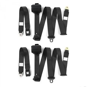 Camaro 1970 1981 Standard 3pt Black Retractable Bucket Seat Belt Kit 2 Belts