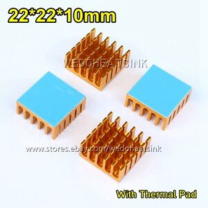 100pcs Yellow Slot 22x22x10mm Radiator Heat Sink With Thermal Pad For Cpu Ic Bga