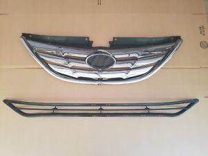 2pc Set 2011 2013 Sonata Front Bumper Chrome Upper Grille Black Lower New Pair