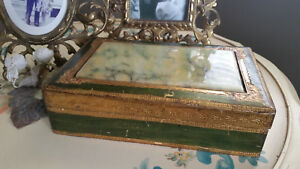 Vintage Florentia Hinged Box Felt Lined Celluloid Accent Green Gold Italy