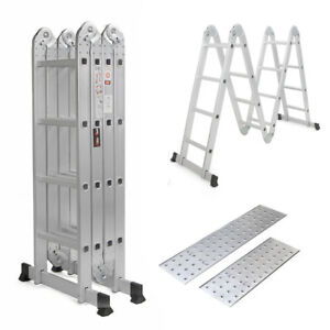 15 5ft Aluminum Multi Purpose Ladder Extension Folding Step Telescoping Extend