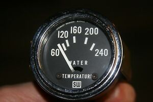 Stewart Warner 2 1 16 6v Electric Water Temperature Brass Gauge Vintage
