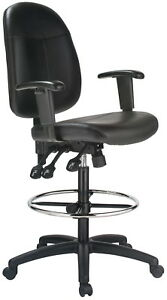 Extra Tall Ergonomic Leather Drafting Chair
