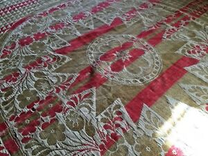 Wonderful Antique 19th Hand Woven Wool Coverlet Blanket Homespun
