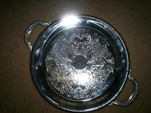 Fb Rogers Round Silverplate Serving Tray W Handles Gadroon Edge Scrolls