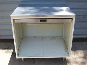 Store Display Fixtures Stainless Counter With Pull Out Shelf 36 Tall X 36 Wide