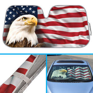 American Eagle Us Flag Car Sun Shade Foldable Windshield Sunshade Dash Visor