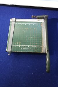 656b Photo Paper Cutter Industrial Vintage Hinged Iron Handle Wood Grid Usa